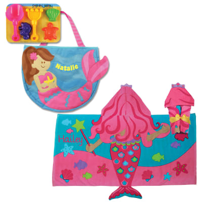 Mermaid-Themed Personalized Hooded Towel and 5-pc. Beach Tote Set