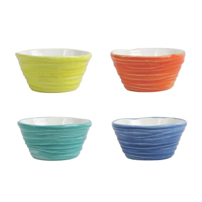 "Vietri ""Pesci Colorati"" Set of 4 Assorted Ramekins from Italy"