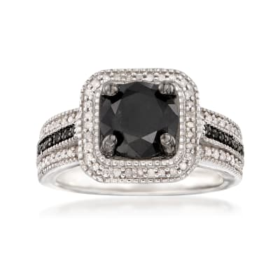 2.00 ct. t.w. Black and White Diamond Ring in Sterling Silver