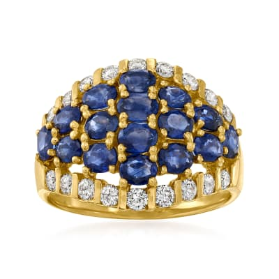 C. 1980 Vintage 2.92 ct. t.w. Sapphire and .60 ct. t.w. Diamond Cluster Ring in 18kt Yellow Gold