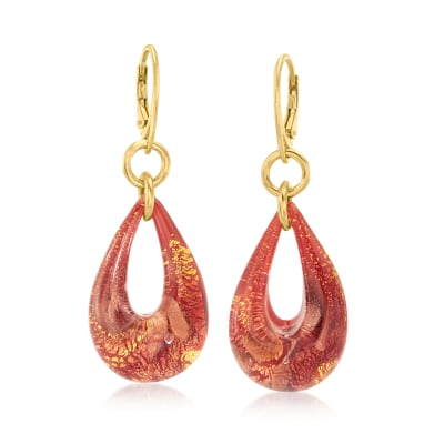 Italian Murano Glass Teardrop Earrings in 18kt Gold Over Sterling