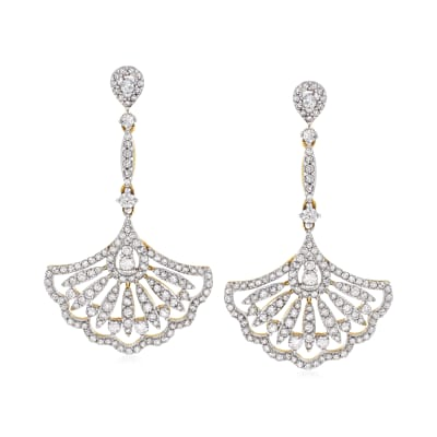 1.50 ct. t.w. Diamond Fan Drop Earrings in 14kt Yellow Gold
