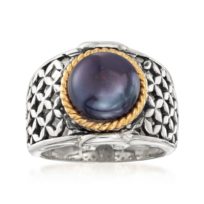 9.5-10mm Black Cultured Button Pearl Ring in Two-Tone Sterling Silver