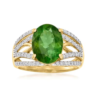3.90 Carat Green Tourmaline Ring with .36 ct. t.w. Diamonds in 18kt Yellow Gold