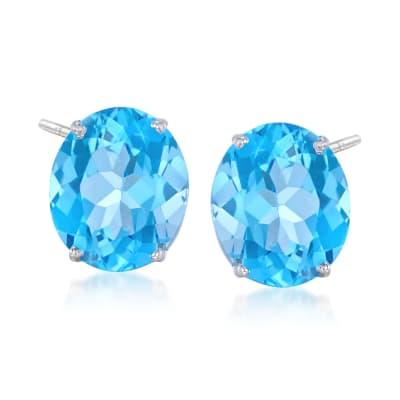 12.00 ct. t.w. Blue Topaz Stud Earrings in 14kt White Gold