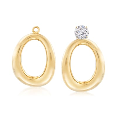 14kt Yellow Gold Puffed Oval Drop Earring Jackets