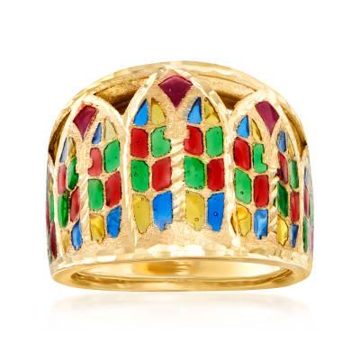 Italian Multicolored Enamel Ring in 14kt Yellow Gold