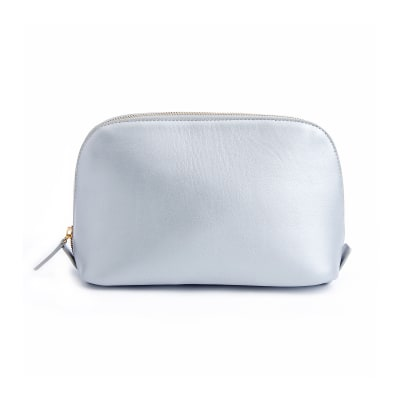 Royce Silver Leather Cosmetic Bag