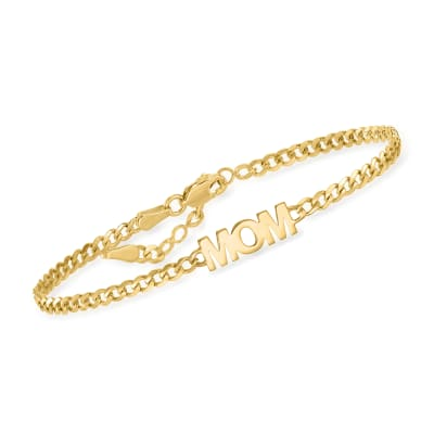 "14kt Yellow Gold ""Mom"" Curb-Link Necklace"