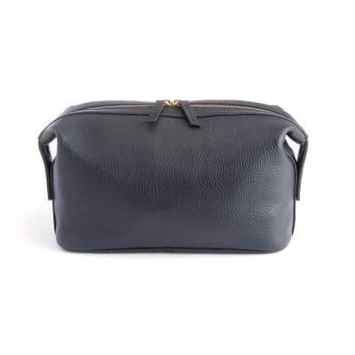 Royce Black Pebbled Leather Double-Zip Toiletry Bag