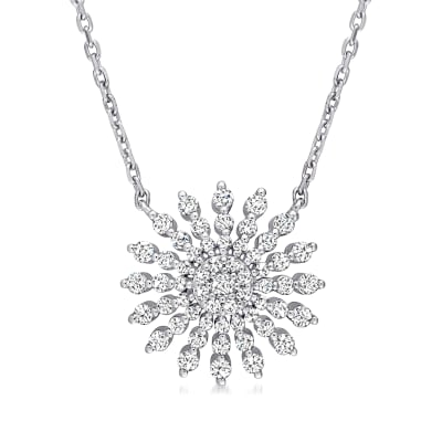 .69 ct. t.w. Diamond Sun Necklace in 14kt White Gold