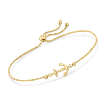 14kt Yellow Gold Nautical Anchor Bolo Bracelet