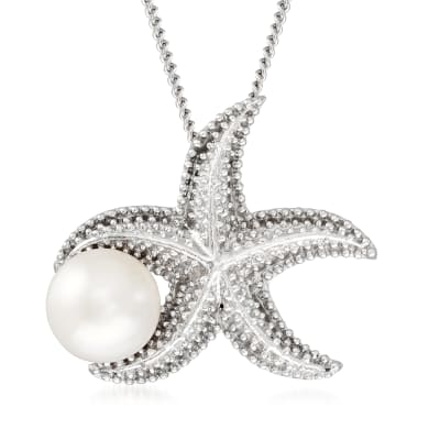 9.5-10mm Cultured Pearl Starfish Pendant Necklace in Sterling Silver
