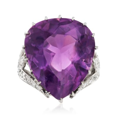 C. 1970 Vintage 20.40 Carat Amethyst and .80 ct. t.w. Diamond Ring in Platinum