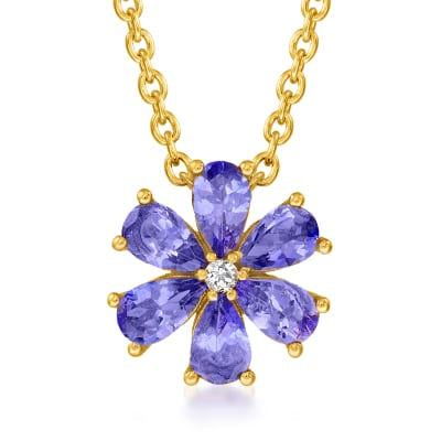 .10 ct. t.w. Tanzanite Flower Necklace with White Topaz Accent in 18kt Gold Over Sterling