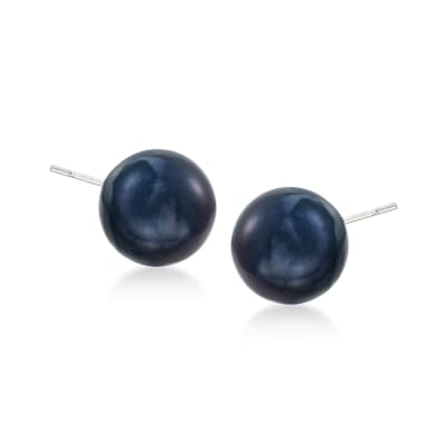 11-12mm Black Cultured Tahitian Pearl Earrings in 14kt White Gold