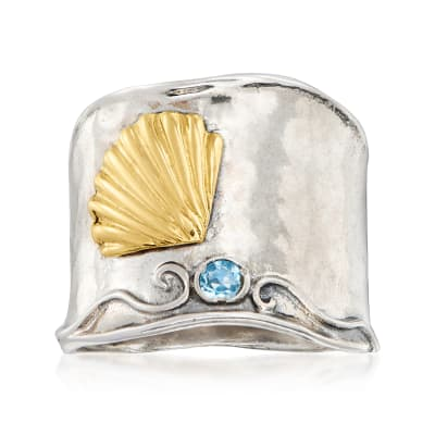 .50 Carat Sky Blue Topaz Two-Tone Seashell Ring in Sterling Silver with 14kt Yellow Gold