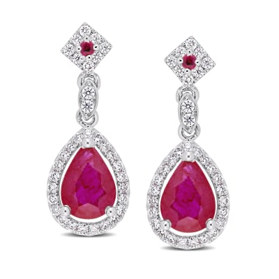 1.74 ct. t.w. Ruby and .34 ct. t.w. Diamond Drop Earrings 14kt White Gold