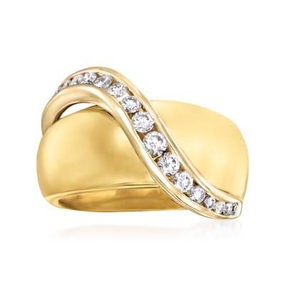 C. 1980 Vintage .65 ct. t.w. Diamond Swirl Ring in 14kt Yellow Gold