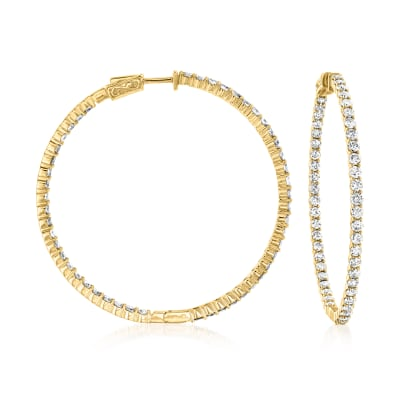 6.50 ct. t.w. Diamond Inside-Outside Hoop Earrings in 14kt Yellow Gold