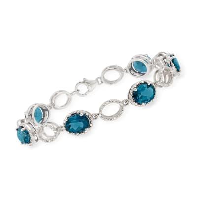 14.00 ct. t.w. London Blue Topaz and .38 ct. t.w. Diamond Bracelet in Sterling Silver