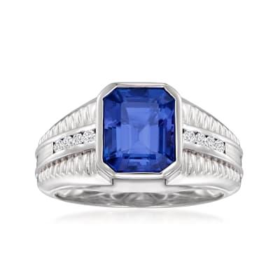 Men's 4.90 Carat Tanzanite Ring with .19 ct. t.w. Diamonds in 18kt White Gold