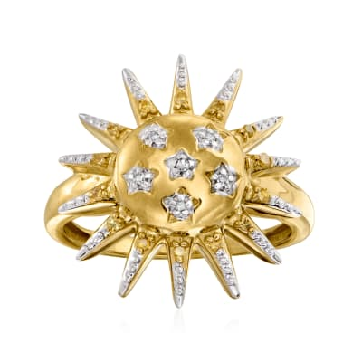.10 ct. t.w. White and Yellow Diamond Sun Ring in 18kt Gold Over Sterling