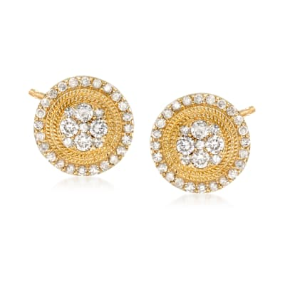 1.00 ct. t.w. Diamond Circle Earrings in 14kt Yellow Gold