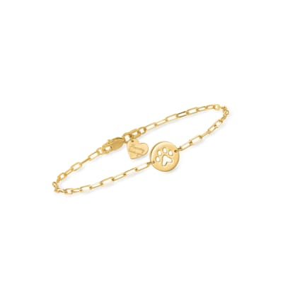 Child's 14kt Yellow Gold Paw-Print Paper Clip Link Bracelet