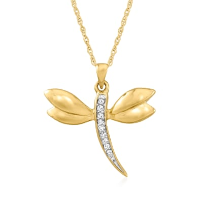 Diamond-Accented Dragonfly Pendant Necklace in 14kt Yellow Gold