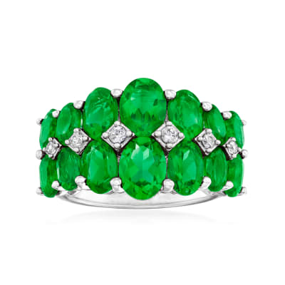 7.40 ct. t.w. Chrome Diopside Ring with White Zircon Accents in Sterling Silver