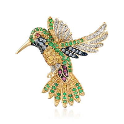 1.96 ct. t.w. Multi-Gemstone and .15 ct. t.w. Diamond Hummingbird Pendant Necklace in 18kt Gold Over Sterling