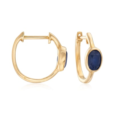 1.30 ct. t.w. Sapphire Hoop Earrings in 14kt Yellow Gold