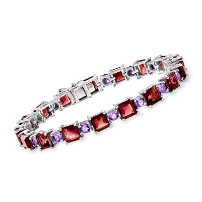 20.00 ct. t.w. Garnet and 3.80 Amethyst Tennis Bracelet in Sterling Silver