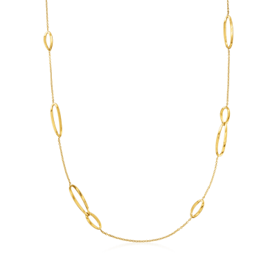 Italian 18kt Yellow Gold Station Oval-Link Necklace