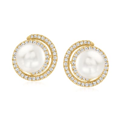9mm Shell Pearl and .70 ct. t.w. CZ Swirl Earrings in 18kt Gold Over Sterling