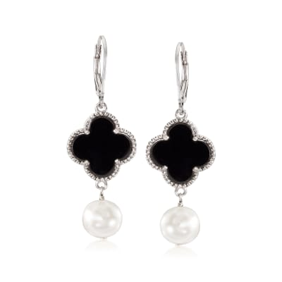 Black Onyx and Cultured Pearl Clover Drop Earrings in Sterling Silver