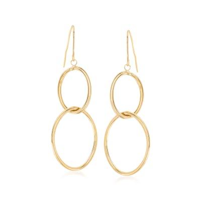 Italian 14kt Yellow Gold Double-Oval Drop Hoop Earrings