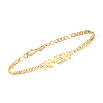 """Amen"" Link Bracelet in 14kt Yellow Gold"