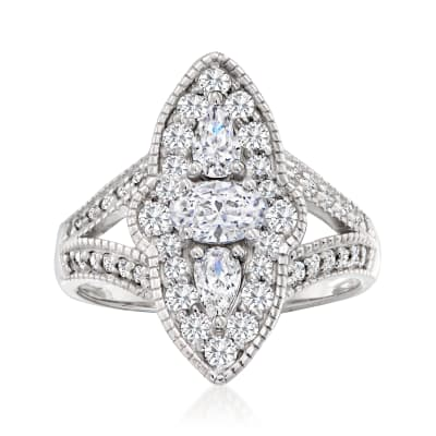 1.60 ct. t.w. Multi-Shaped CZ Vintage-Style Ring in Sterling Silver