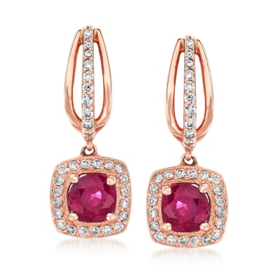 1.40 ct. t.w. Ruby and .52 ct. t.w. Diamond Hoop Drop Earrings in 14kt Rose Gold