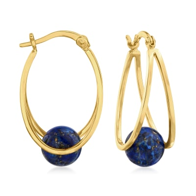 8-9mm Lapis Double-Hoop Earrings in 18kt Gold Over Sterling