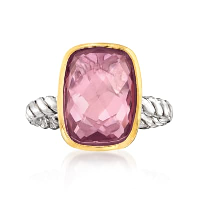Pink Quartz Ring in 14kt Yellow Gold and Sterling Silver