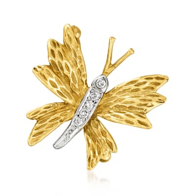 C. 1970 Vintage Tiffany Jewelry .11 ct. t.w. Diamond Butterfly Pin in 18kt Yellow Gold