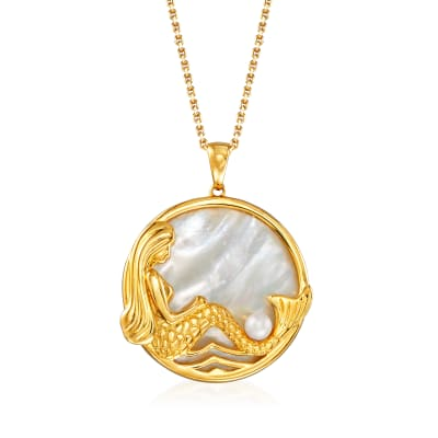 Mother-Of-Pearl Mermaid Pendant Necklace in 18kt Gold Over Sterling
