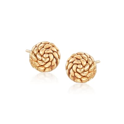 Italian 18kt Yellow Gold Roped Dome Stud Earrings