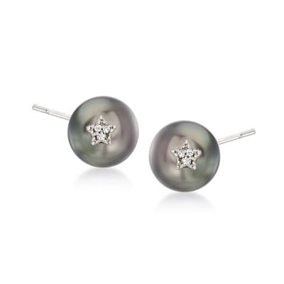8-8.5mm Black Cultured Pearl Earrings with Diamond-Accented Stars in Sterling Silver