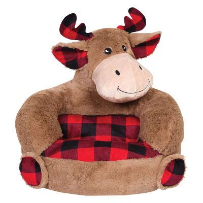 Children's Plush Buffalo Check Moose Chair