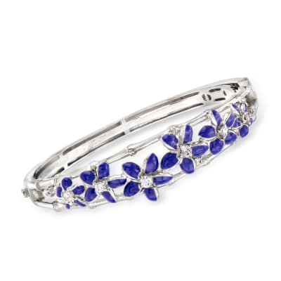 "Belle Etoile ""Leilani"" Blue Enamel and .62 ct. t.w. CZ Flower Bangle Bracelet in Sterling Silver"