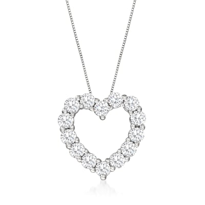 2.75 ct. t.w. Diamond Heart Pendant Necklace in 14kt White Gold